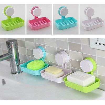 1pc Plastic Bathroom Shower Strong Suction Cup Soap Dish Tray Wall Holder BS