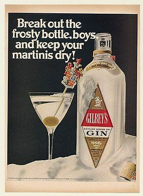 1968 Gilbey's Gin Frosty Bottle Dry Martini Print Ad