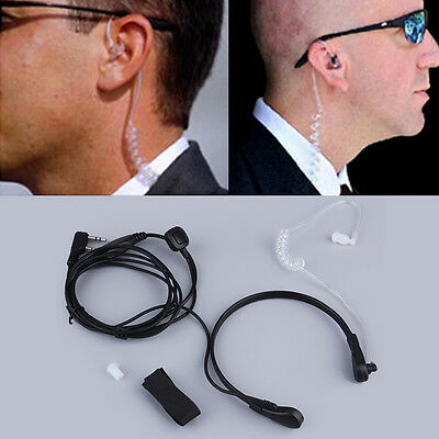 New 2PIN Security Throat Vibration Mic Headphone Headset Earpiece For Talkie BS