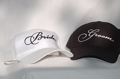 Black and White Embroidered Wedding Bride and Groom Baseball Hats