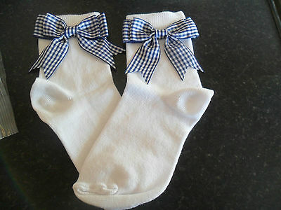 romany girl SPANISH STYLE  NAVY BLUE CHECK bow BACK TO school sock SIZE 6 - 8