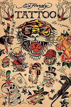 """Ed Hardy Poster """"tattoo Collage"""" Licensed """"brand New"""""""