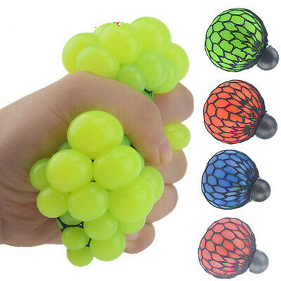 Anti Stress Face Reliever Fruit Grape Ball Autism Mood Squeeze Relief ADHD Toy