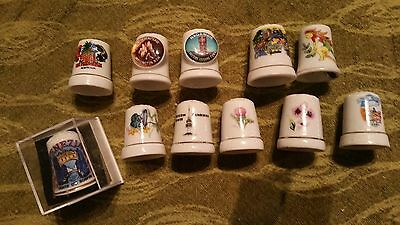 11 porcelain thimbles sewing collectable