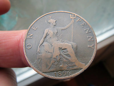 1896 One Penny Veiled Head Queen Victoria -