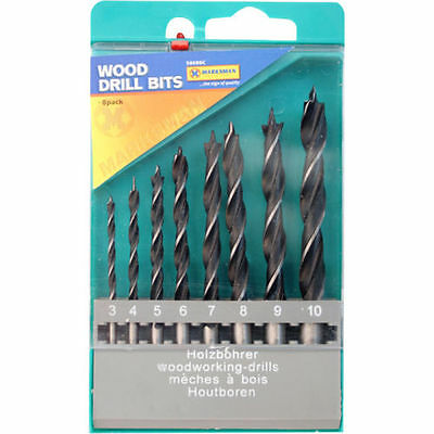 8PC wood drill bit set 3 to 10mm Masonary Use With Plastic Case New Sale