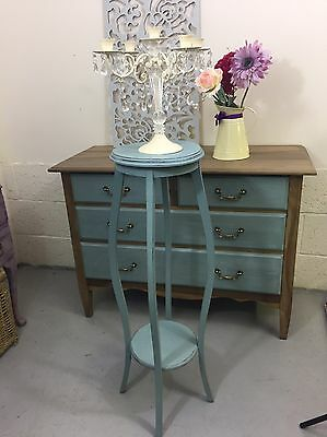 Tall 2 Tier Wooden Plant Stand Ornate Decorative Legs Shabby Chic Duck Egg Blue