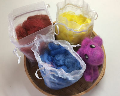 Hand Dyed Alpaca Fleece Fibre 3 Colours Red Yellow Blue Needle Felting Spinning