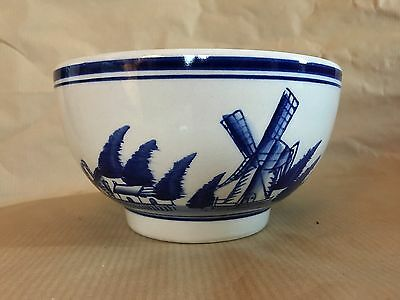 Blue and White Windmill Bowl Delft-style Ceramic Pottery