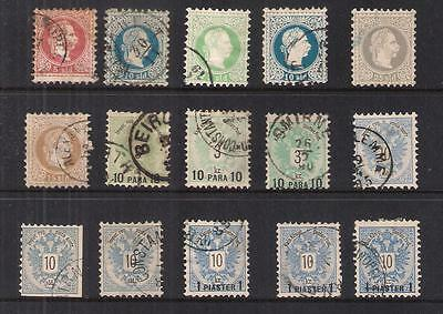 Austria 15 Attractive Austrian Levant Old Fine Used Stamps