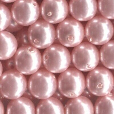 25 8mm Blush Pink Loose Czech Glass (Faux) Pearl Beads