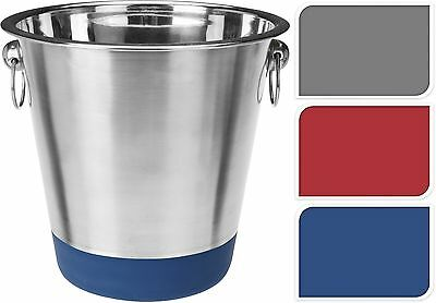 Stainless Steel Ice Bucket Wine Cooler Champagne Cooler Soft Touch Coloured Base