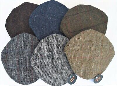 830c9dbe84e Unisex Scottish 100% Harris Tweed Wool Flat Cap made in SCOTLAND in 7  colours