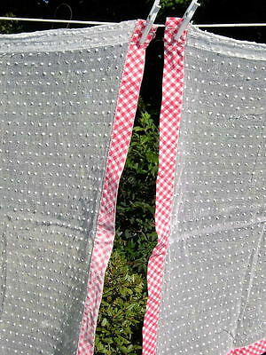 Vintage Pair~Dot Sheer Red~White Check Curtains 1940s Whispy Cottage