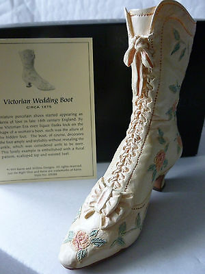 New Boxed Just The Right Shoe by Raine Victorian Wedding Boot Ornament -c1875