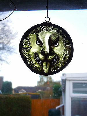 Stained Glass Lion Vintage Victorian Gothic Medieval Style