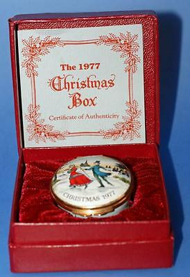 Halcyon Days Enamel Trinket Box Christmas 1977 Boxed with Certificate