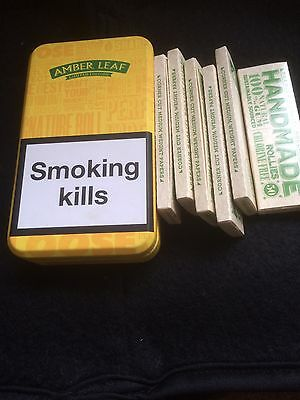 amber leaf tobacco tin And 6 Packs Of Papers