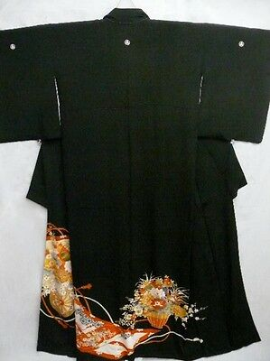 Japanese Tomesode/Wedding Kimono/Coat/Robe Black Silk 'Birds & Flower Carts' M/L