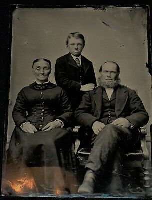 Vintage 1800's Half Plate Tintype of Family of Three