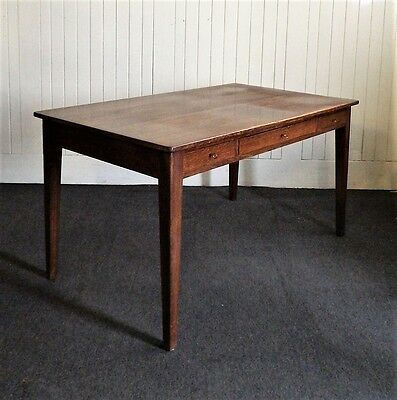 Antique oak large writing - library table  /  desk