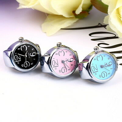 Creative Fashion Steel Round Elastic Quartz Finger Ring Watch Lady Girl Gift UK