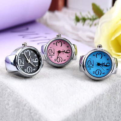 Creative Fashion Steel Round Elastic Quartz Finger Ring Watch Lady Girl Gift EA