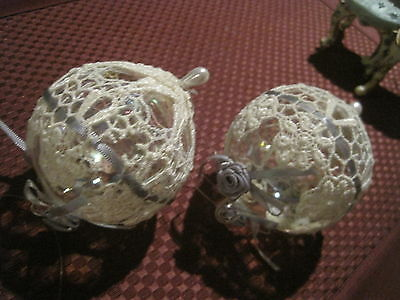 2 Lace covered Clear Glass Ornaments