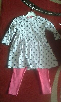 Spotty top and leggings set aged 2-3 years,  toddler girls