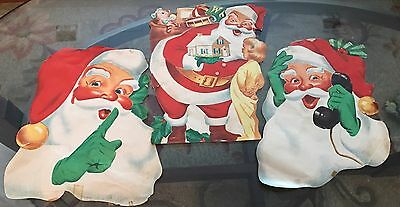 VINTAGE 1950s - 3 - Colorful SANTA Posters from CHILD SCRAPBOOK