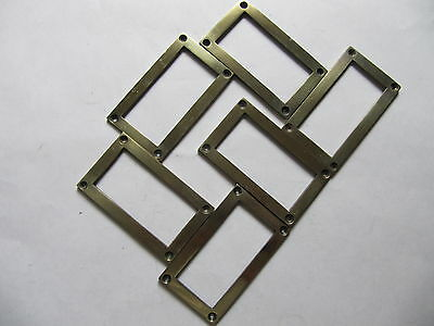 Old Cast Brass Filing Cabinet/Drawer/Chest/Card Frame Holders x6