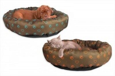 Printed Polyester Round Pet Bed With Motif