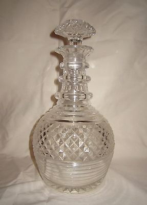 Antique cut crystal glass decanter with hobnail and rib design