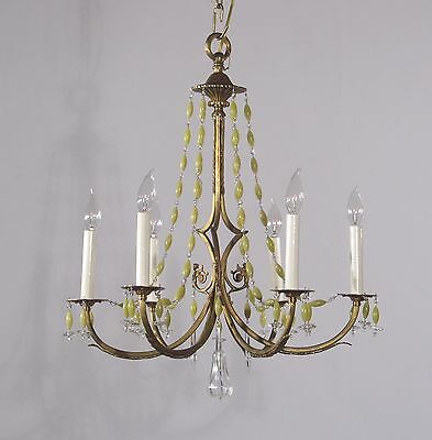 Antique 6 Light Bronze Chandelier w/ Citron Beads