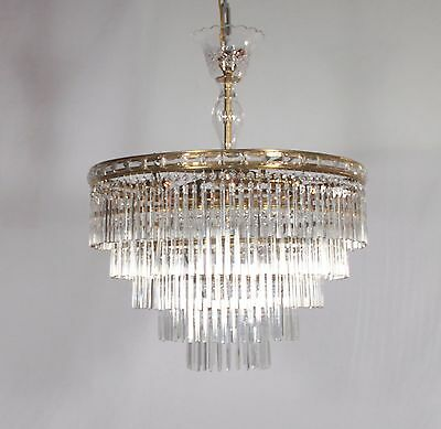 Antique 9 Light 5 Tier Czechoslovakian Prism Chandelier