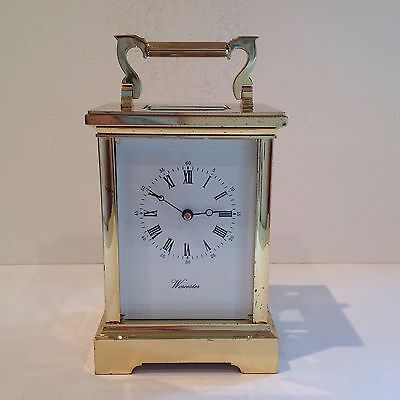 Stunning English Carriage Clock From Worcester Retailer With Striking Mechanism