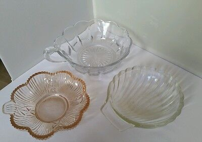 3 x pressed glass dishes