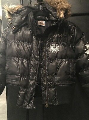 Kids Ed hardy Hooded Puffer Jacket Size Xl (10-12 Years)