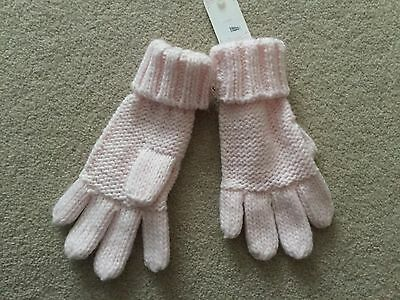 Girls pale pink knitted style gloves from Next size 3 4 5 6 years NWT
