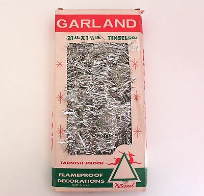Vintage 21' Silver Tinsel Christmas Garland Made In USA