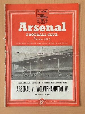 Arsenal Vs Wolverhampton Football Programme From 1953