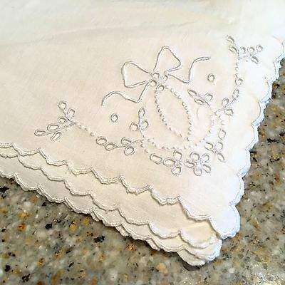 Antique 12 Linen Cocktail Napkins Eyelet Embroidery 12x12