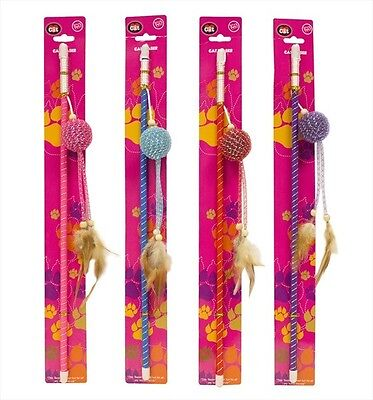 2 X Cat Teaser Toy With Ball & Feathers