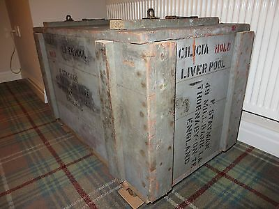 Wooden chest, shabby vintage look from authentic shipping crate - 1937-65