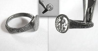 Outstanding Ancient Byzantine Gnostic Silver Ring with jackal-headed Abraxas