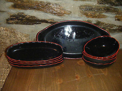 9 piece set of serving dishes black with red rim