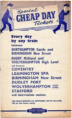 2x Special Cheap Day Tickets, West Midlands interest, September 1960, 12pp + 4pp