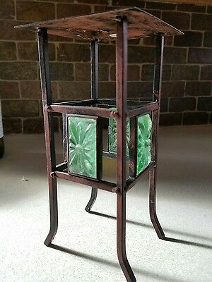Partylite Bronze Iron Pillar Candle Holder Green Glass Inset Good Condition
