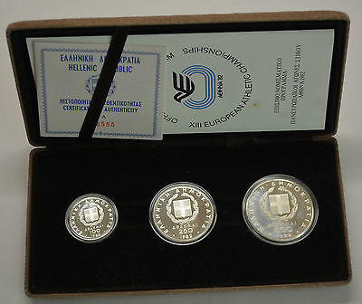 GN454 - Griechenland 100,250,500 Drachmai 1982 Stfr. Olympia Silber in Orig. BOX