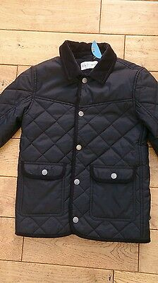 New M&S Navy Indigo Quilted Jacket age 9-10